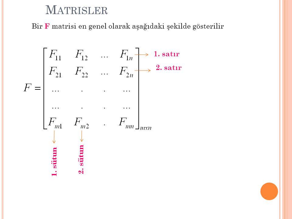 Matrisler Bir F matrisi en genel olarak aşağıdaki şekilde gösterilir