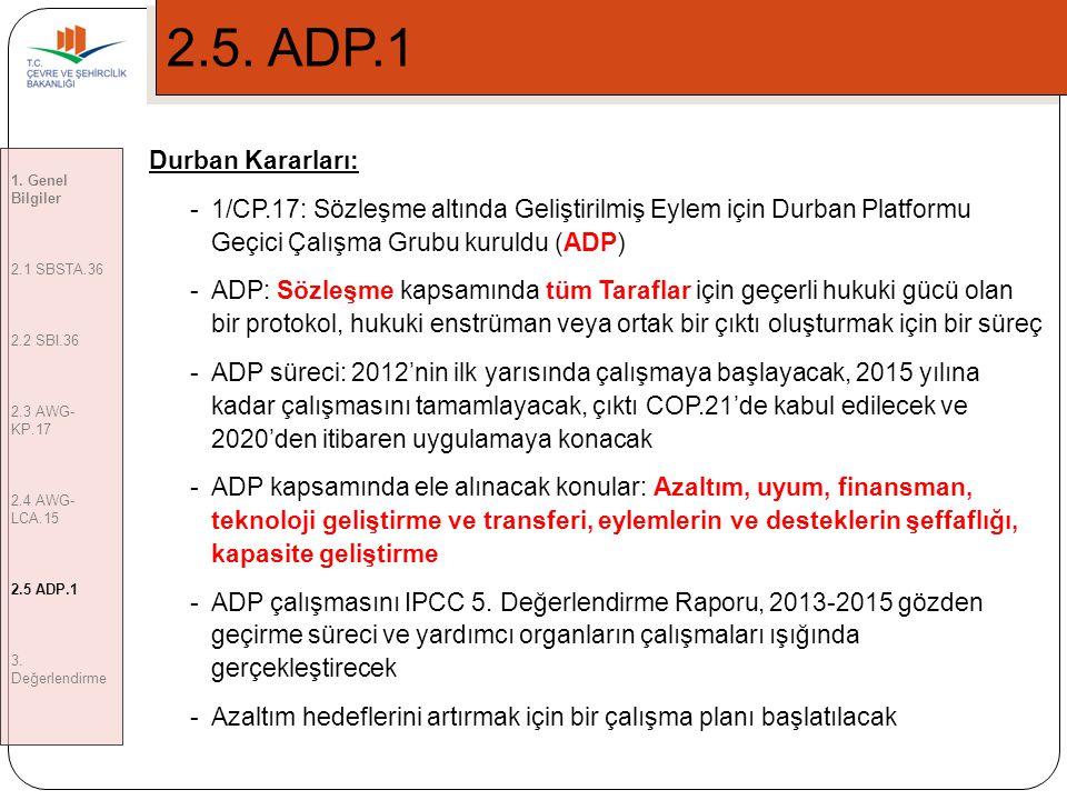 2.5. ADP.1 Durban Kararları: 1/CP.17: Sözleşme altında Geliştirilmiş Eylem için Durban Platformu Geçici Çalışma Grubu kuruldu (ADP)