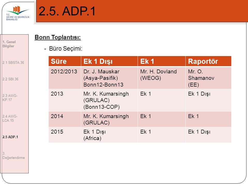 2.5. ADP.1 Süre Ek 1 Dışı Ek 1 Raportör Bonn Toplantısı: Büro Seçimi:
