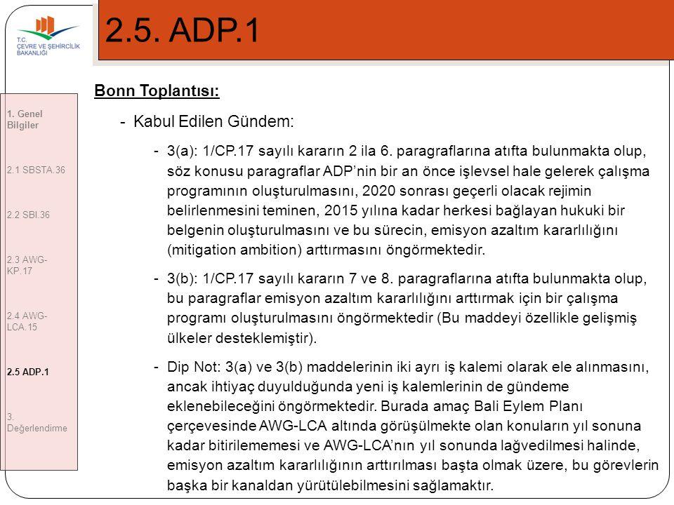 2.5. ADP.1 Bonn Toplantısı: Kabul Edilen Gündem: