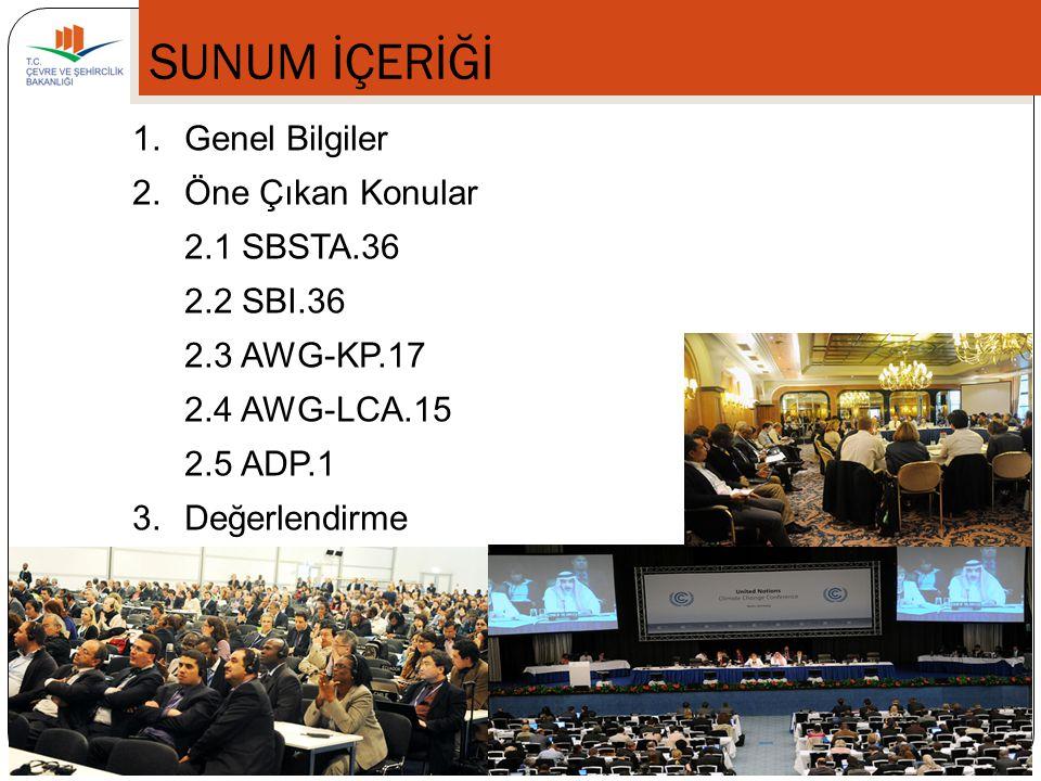 SUNUM İÇERİĞİ 1. Genel Bilgiler 2. Öne Çıkan Konular 2.1 SBSTA.36