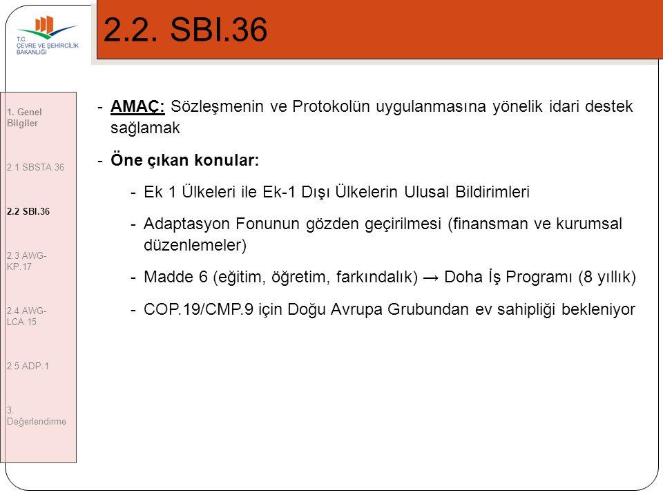 2.2. SBI.36 1. Genel Bilgiler. 2.1 SBSTA.36. 2.2 SBI.36. 2.3 AWG-KP.17. 2.4 AWG-LCA.15. 2.5 ADP.1.