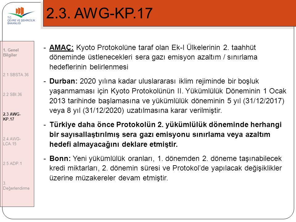 2.3. AWG-KP.17 1. Genel Bilgiler. 2.1 SBSTA.36. 2.2 SBI.36. 2.3 AWG-KP.17. 2.4 AWG-LCA.15. 2.5 ADP.1.