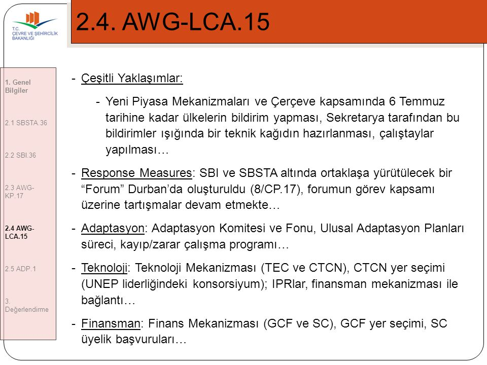 2.4. AWG-LCA.15 Çeşitli Yaklaşımlar: