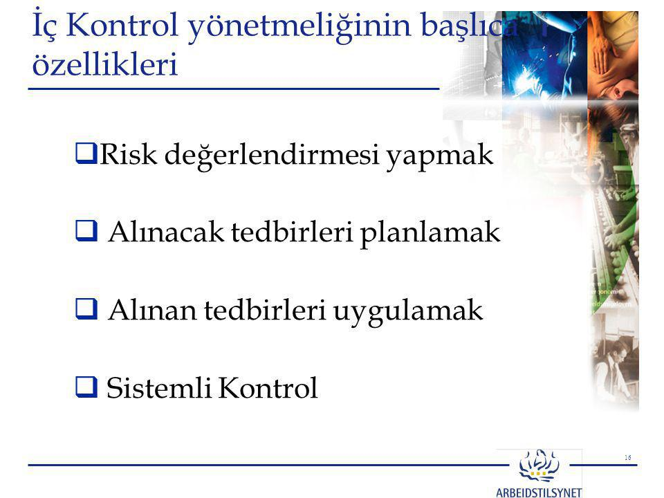 İç Kontrol yönetmeliğinin başlıca özellikleri