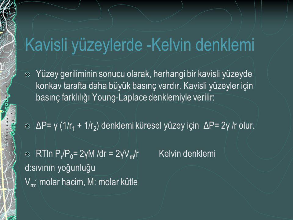 Kavisli yüzeylerde -Kelvin denklemi