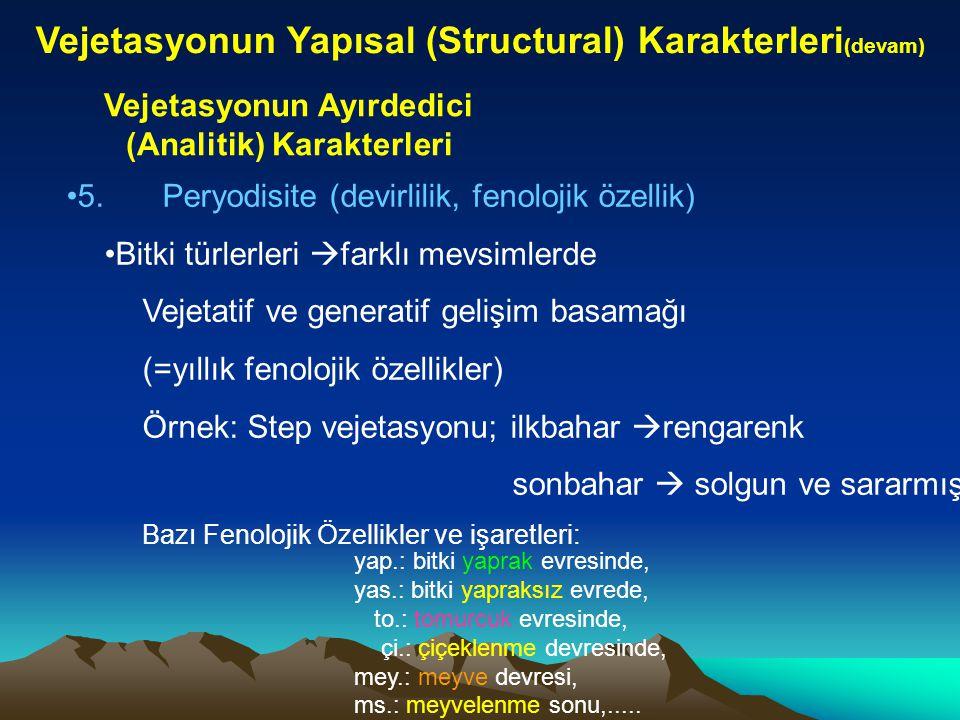 Vejetasyonun Yapısal (Structural) Karakterleri(devam)