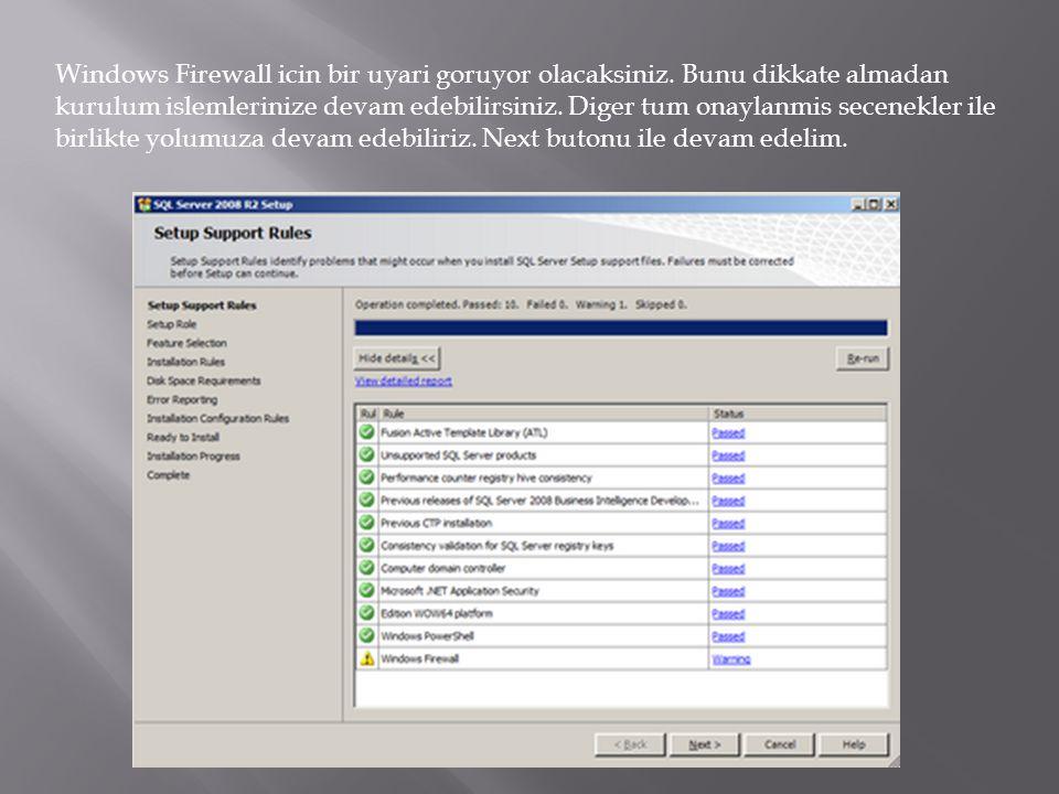 Windows Firewall icin bir uyari goruyor olacaksiniz