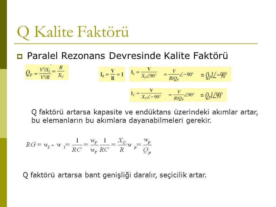Q Kalite Faktörü Paralel Rezonans Devresinde Kalite Faktörü