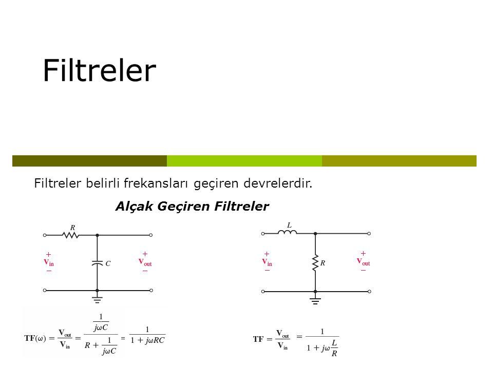 Filtreler Filtreler belirli frekansları geçiren devrelerdir.