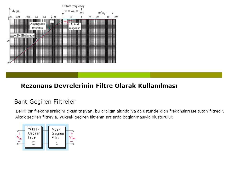 Rezonans Devrelerinin Filtre Olarak Kullanılması