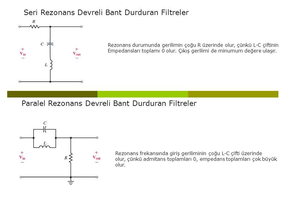 Seri Rezonans Devreli Bant Durduran Filtreler
