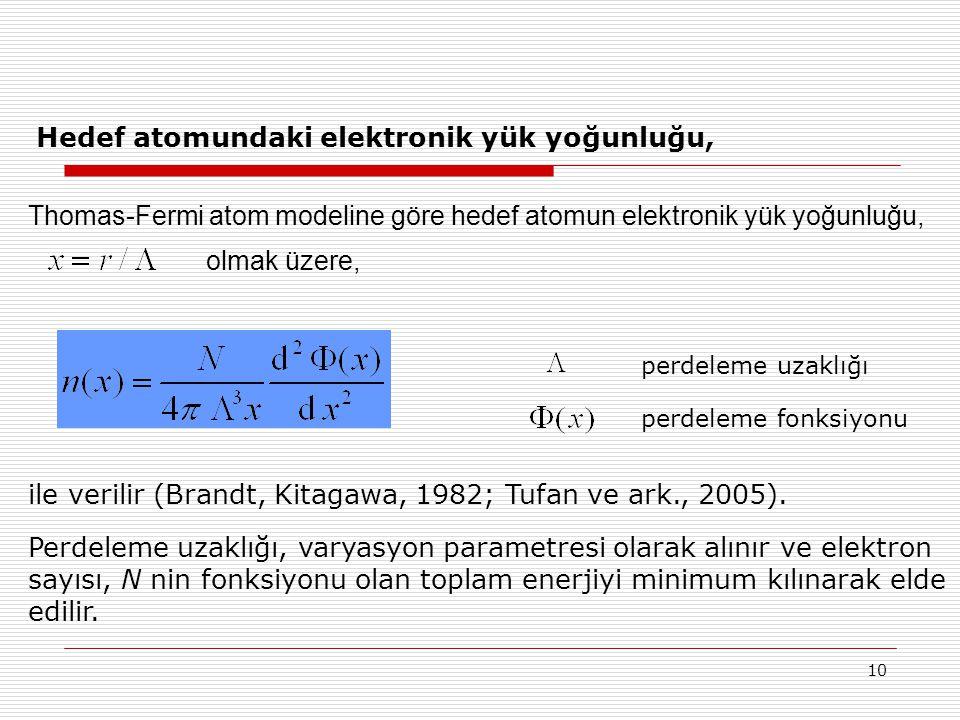 Hedef atomundaki elektronik yük yoğunluğu,