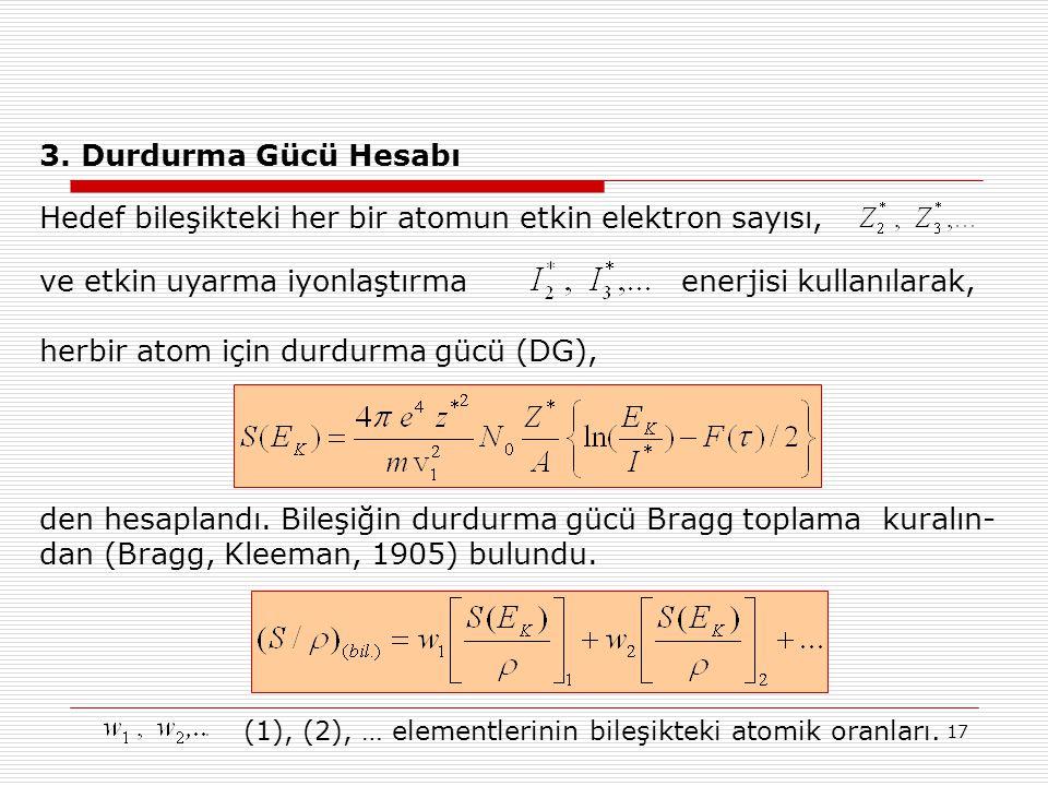 Hedef bileşikteki her bir atomun etkin elektron sayısı,