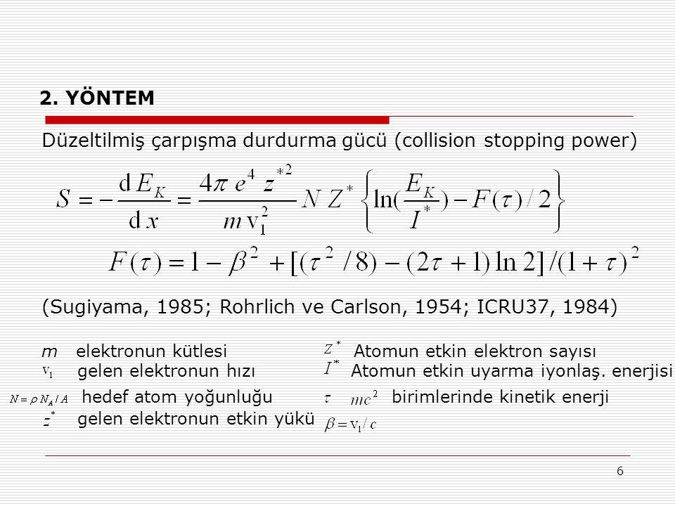 hedef atom yoğunluğu birimlerinde kinetik enerji