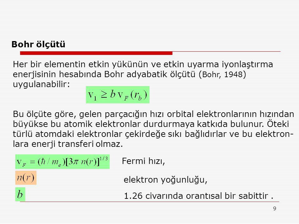 Bohr ölçütü Her bir elementin etkin yükünün ve etkin uyarma iyonlaştırma. enerjisinin hesabında Bohr adyabatik ölçütü (Bohr, 1948)