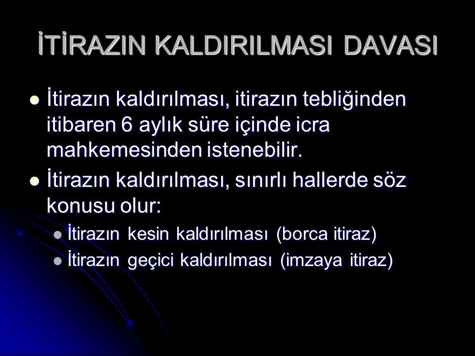 İTİRAZIN KALDIRILMASI DAVASI