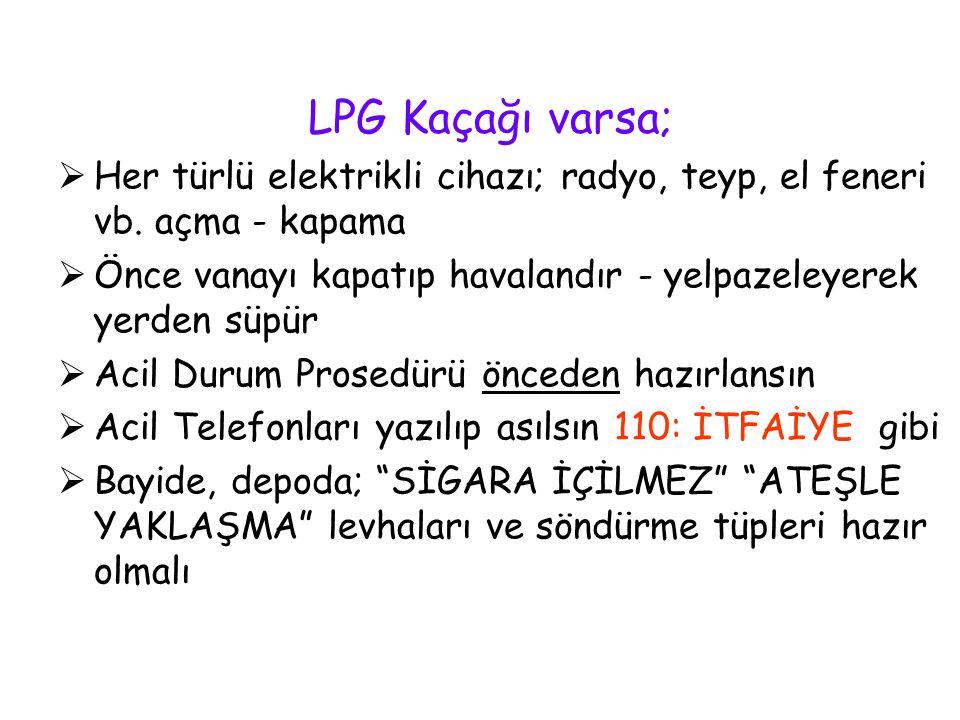 LPG Kaçağı varsa; Her türlü elektrikli cihazı; radyo, teyp, el feneri vb. açma - kapama.