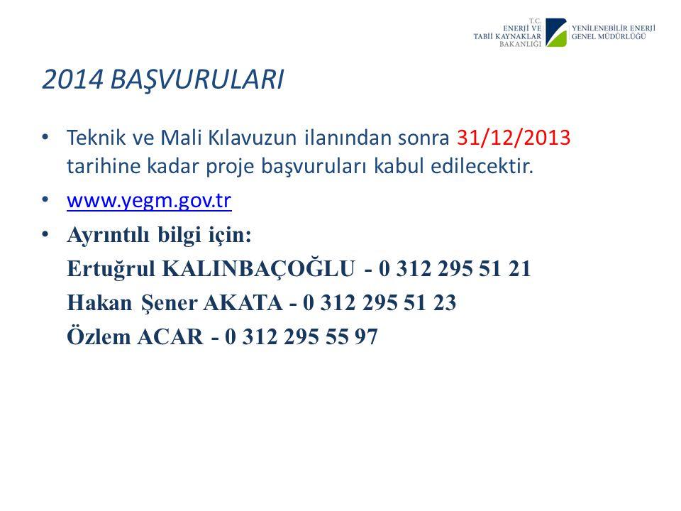 asadsdfgsf 2014 BAŞVURULARI. Teknik ve Mali Kılavuzun ilanından sonra 31/12/2013 tarihine kadar proje başvuruları kabul edilecektir.