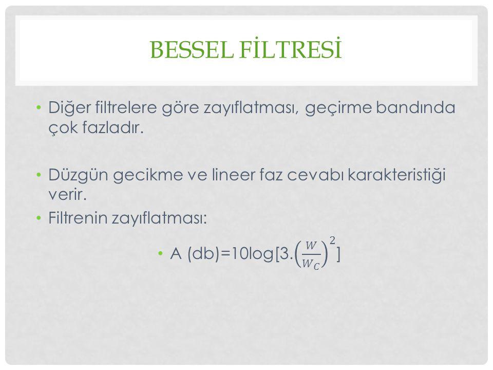 Bessel fİltresİ Diğer filtrelere göre zayıflatması, geçirme bandında çok fazladır. Düzgün gecikme ve lineer faz cevabı karakteristiği verir.