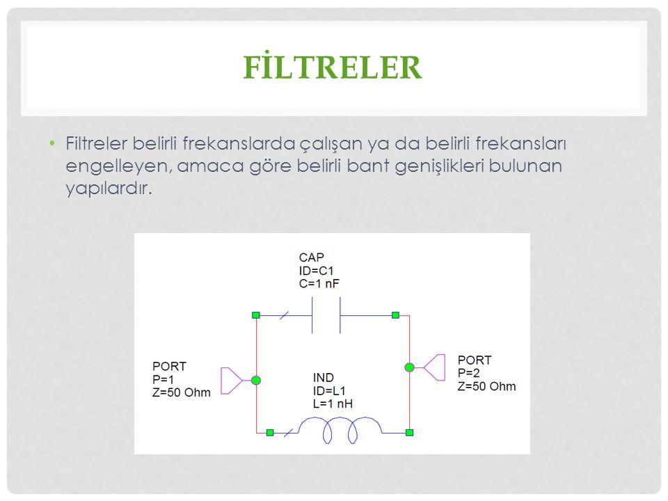 FİLTRELER Filtreler belirli frekanslarda çalışan ya da belirli frekansları engelleyen, amaca göre belirli bant genişlikleri bulunan yapılardır.