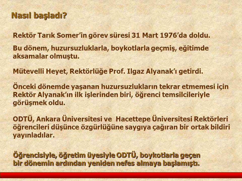 Nasıl başladı Rektör Tarık Somer'in görev süresi 31 Mart 1976'da doldu. Bu dönem, huzursuzluklarla, boykotlarla geçmiş, eğitimde aksamalar olmuştu.