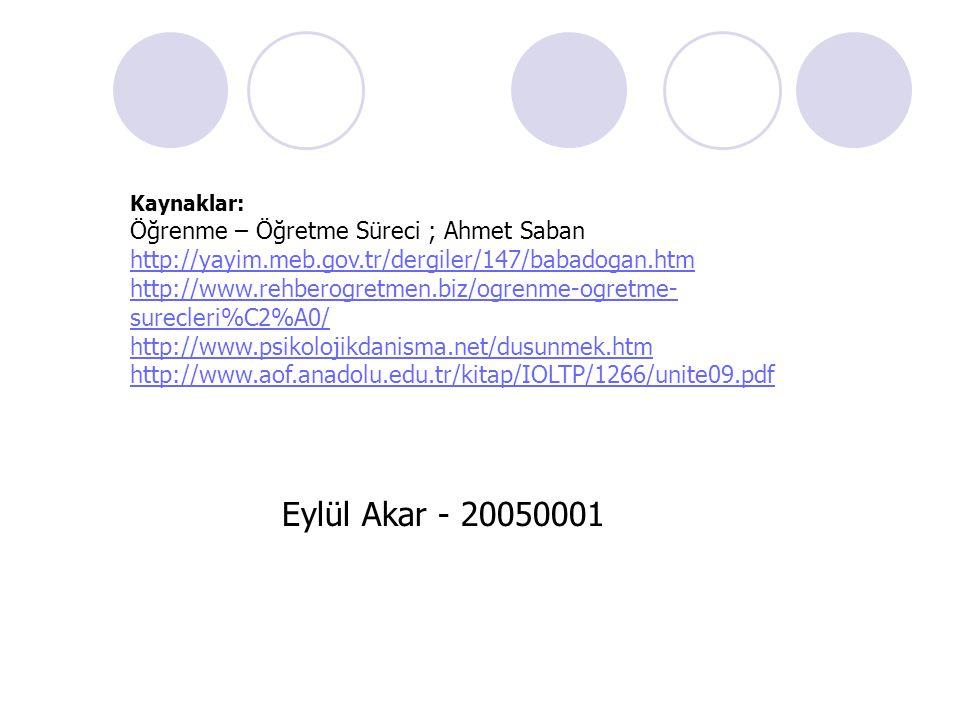 Eylül Akar - 20050001 Öğrenme – Öğretme Süreci ; Ahmet Saban