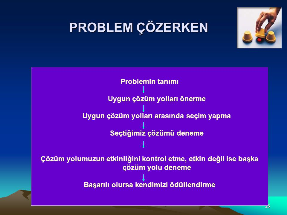 PROBLEM ÇÖZERKEN Problemin tanımı Uygun çözüm yolları önerme