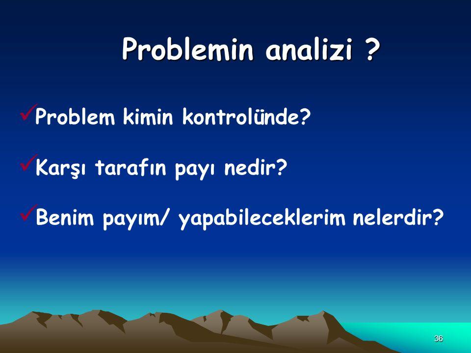 Problemin analizi Problem kimin kontrolünde