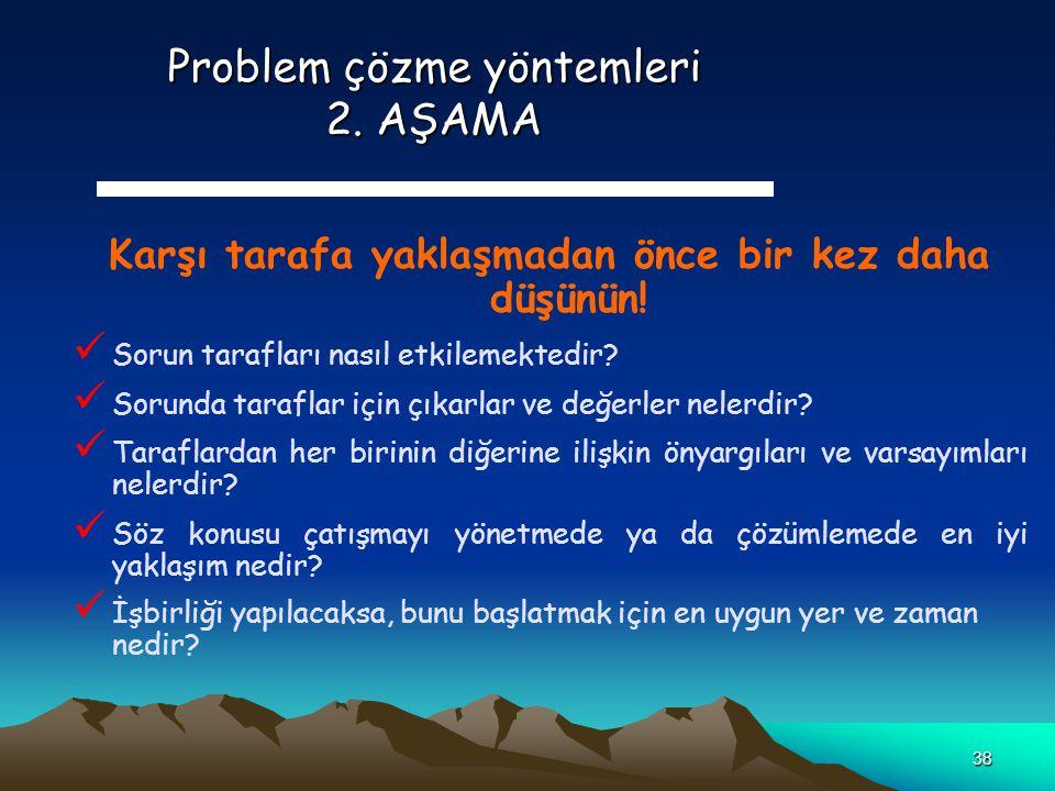Problem çözme yöntemleri 2. AŞAMA