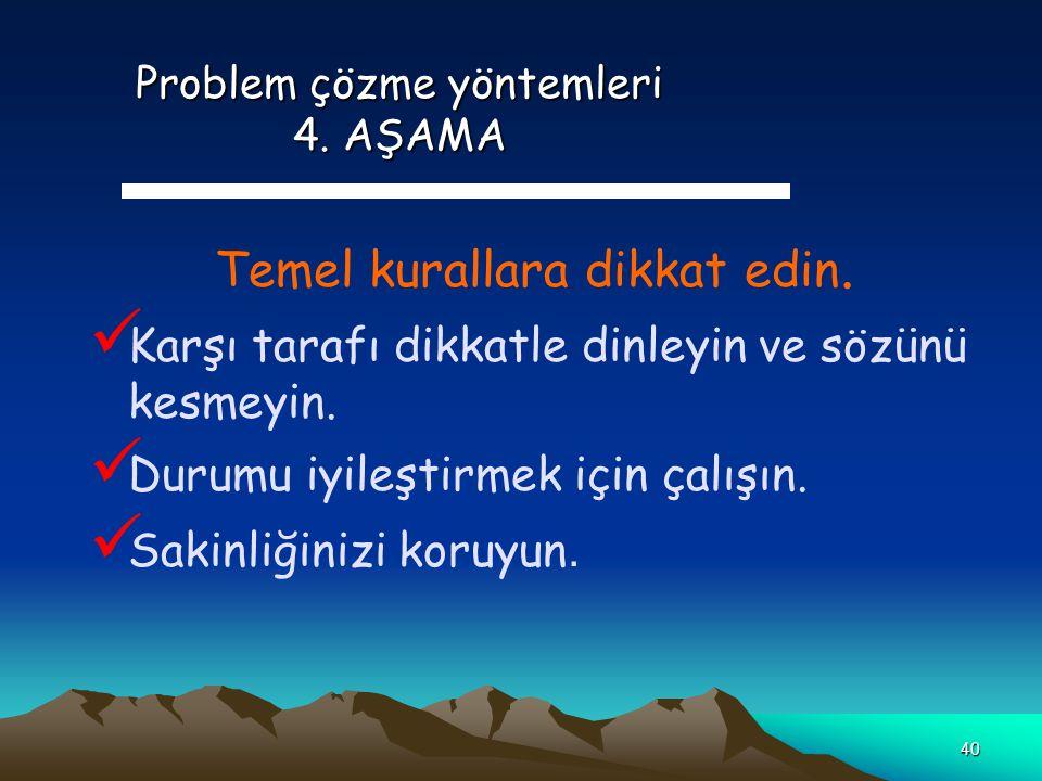 Problem çözme yöntemleri 4. AŞAMA