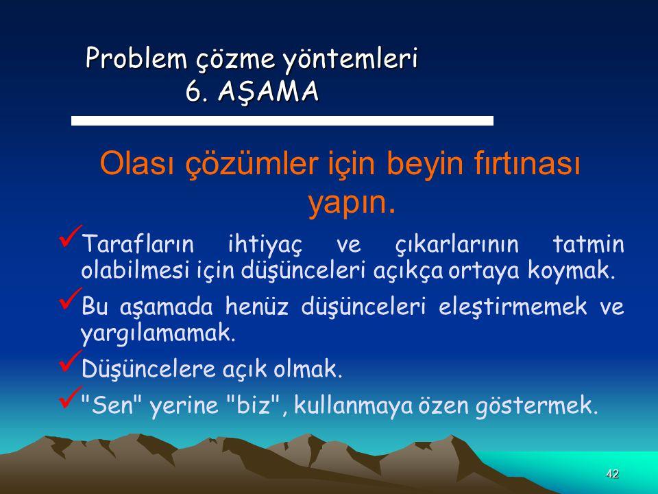 Problem çözme yöntemleri 6. AŞAMA