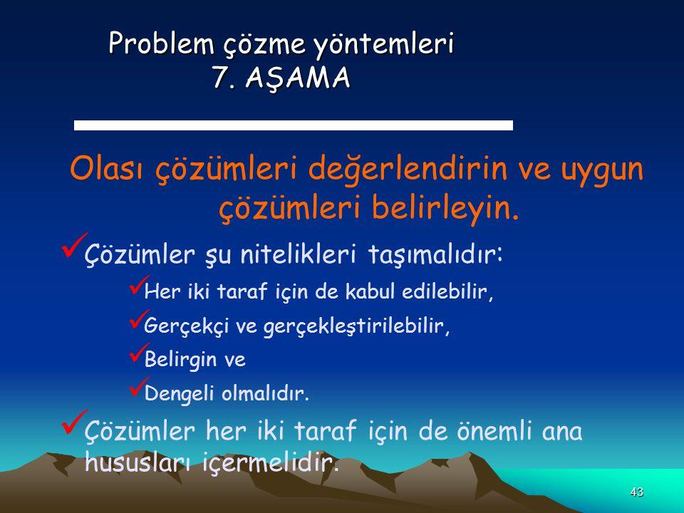 Problem çözme yöntemleri 7. AŞAMA