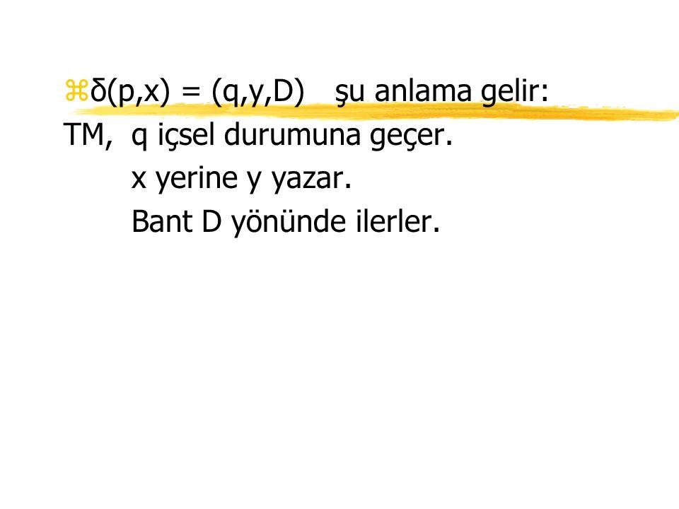δ(p,x) = (q,y,D) şu anlama gelir: