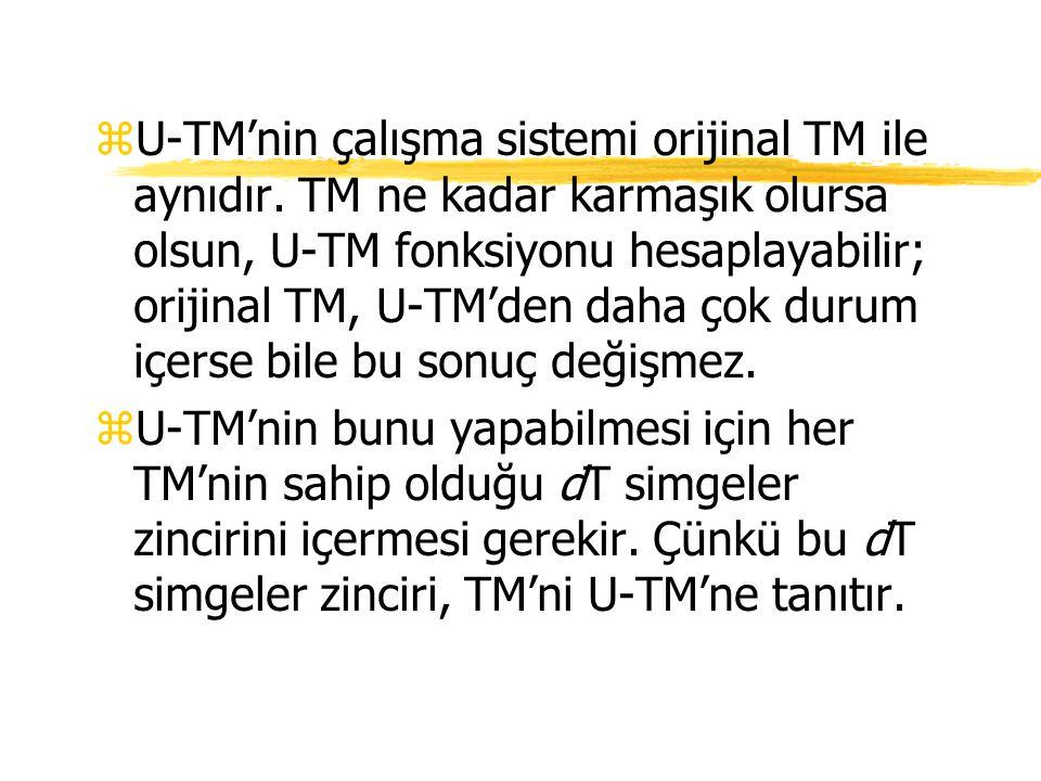 U-TM'nin çalışma sistemi orijinal TM ile aynıdır