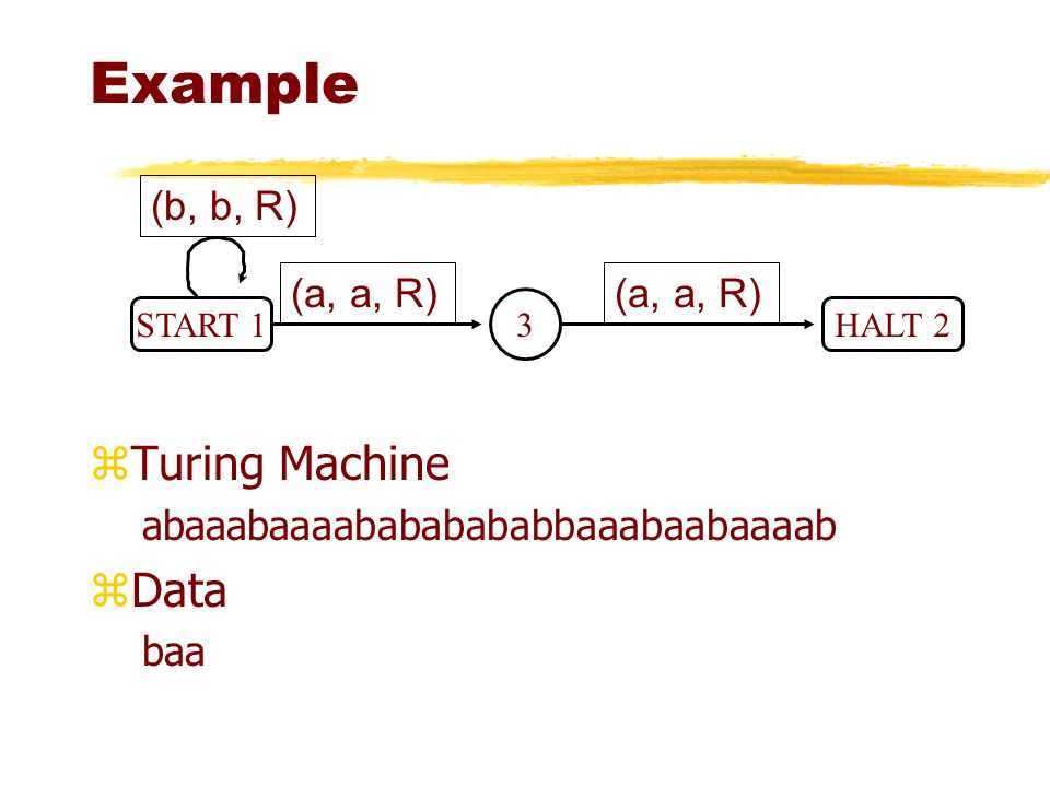 Example Turing Machine Data (b, b, R) (a, a, R) (a, a, R)