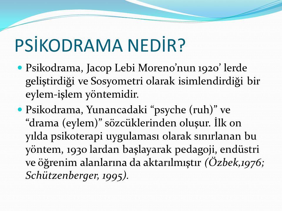 PSİKODRAMA NEDİR Psikodrama, Jacop Lebi Moreno'nun 1920' lerde geliştirdiği ve Sosyometri olarak isimlendirdiği bir eylem-işlem yöntemidir.