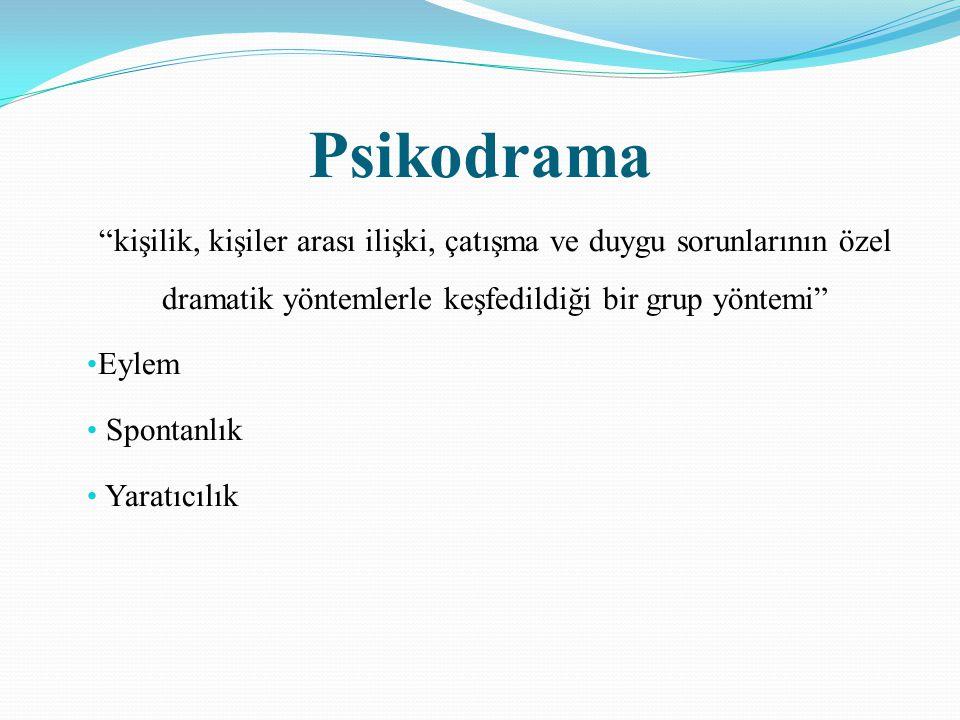 Psikodrama kişilik, kişiler arası ilişki, çatışma ve duygu sorunlarının özel dramatik yöntemlerle keşfedildiği bir grup yöntemi