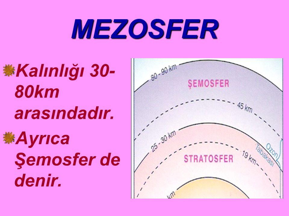 MEZOSFER Kalınlığı 30-80km arasındadır. Ayrıca Şemosfer de denir.