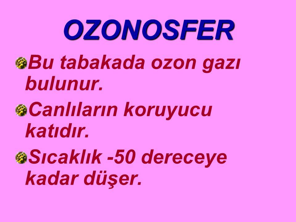 OZONOSFER Bu tabakada ozon gazı bulunur. Canlıların koruyucu katıdır.