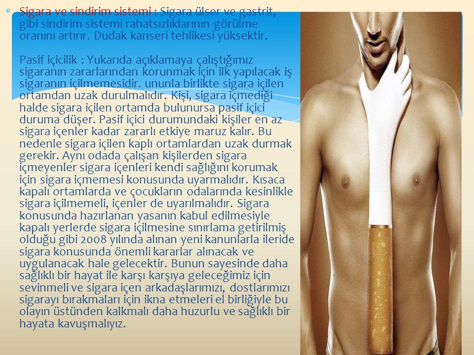 Sigara ve sindirim sistemi : Sigara ülser ve gastrit, gibi sindirim sistemi rahatsızlıklarının görülme oranını artırır.