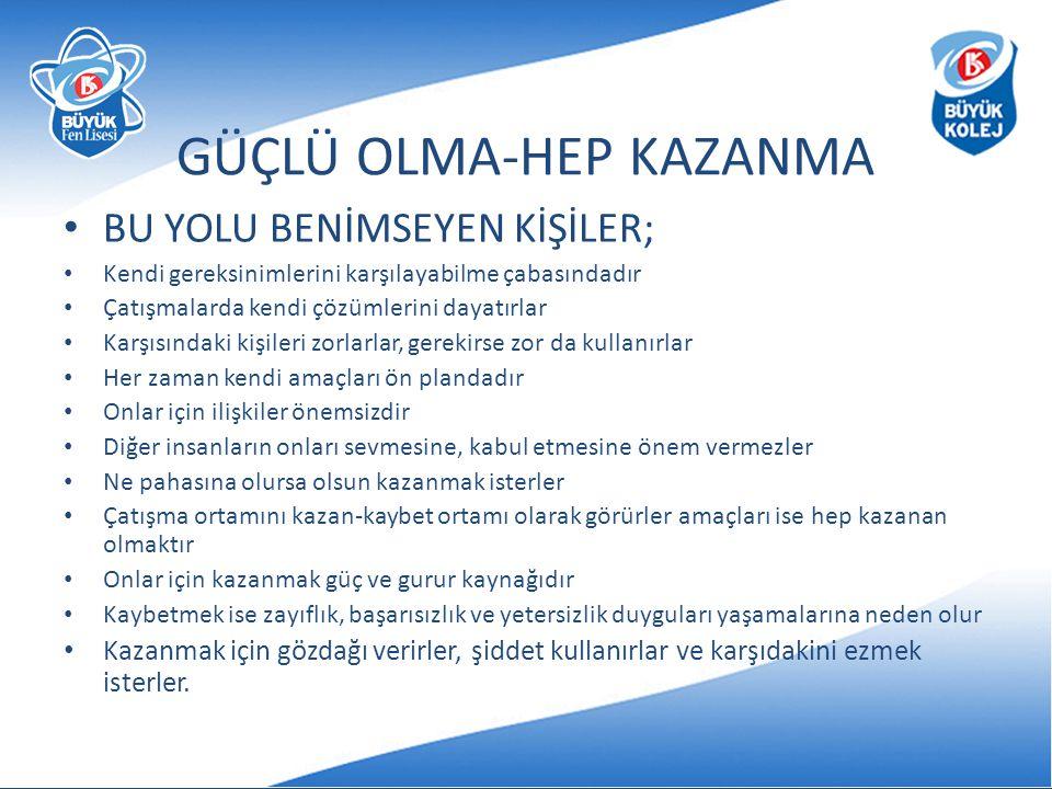 GÜÇLÜ OLMA-HEP KAZANMA
