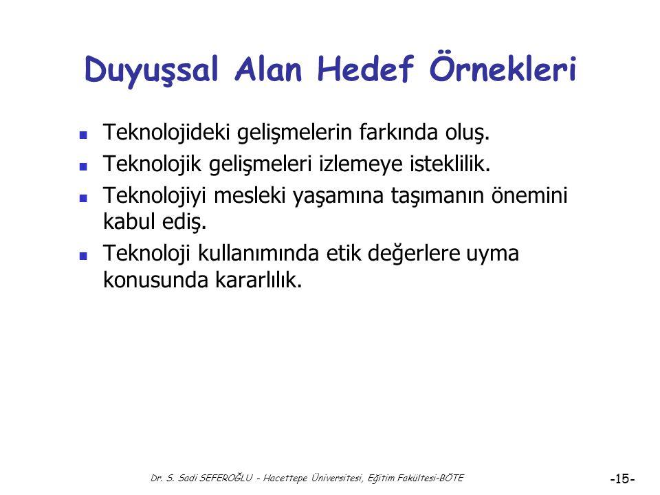 Duyuşsal Alan Hedef Örnekleri