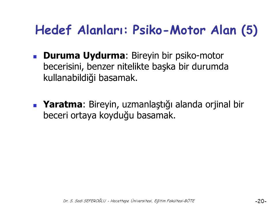 Hedef Alanları: Psiko-Motor Alan (5)