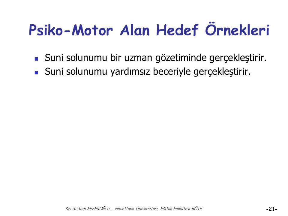 Psiko-Motor Alan Hedef Örnekleri