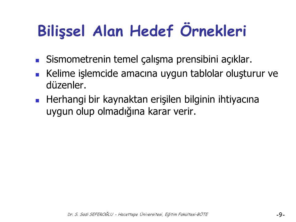 Bilişsel Alan Hedef Örnekleri