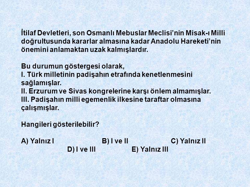 İtilaf Devletleri, son Osmanlı Mebuslar Meclisi'nin Misak-ı Milli doğrultusunda kararlar almasına kadar Anadolu Hareketi'nin önemini anlamaktan uzak kalmışlardır.