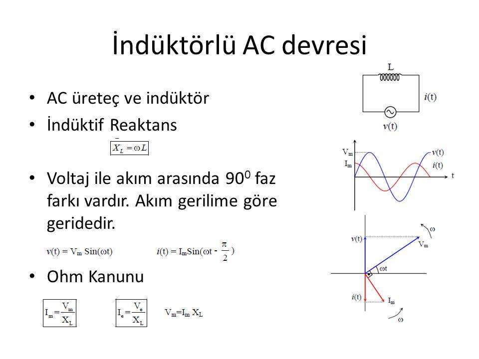 İndüktörlü AC devresi AC üreteç ve indüktör İndüktif Reaktans