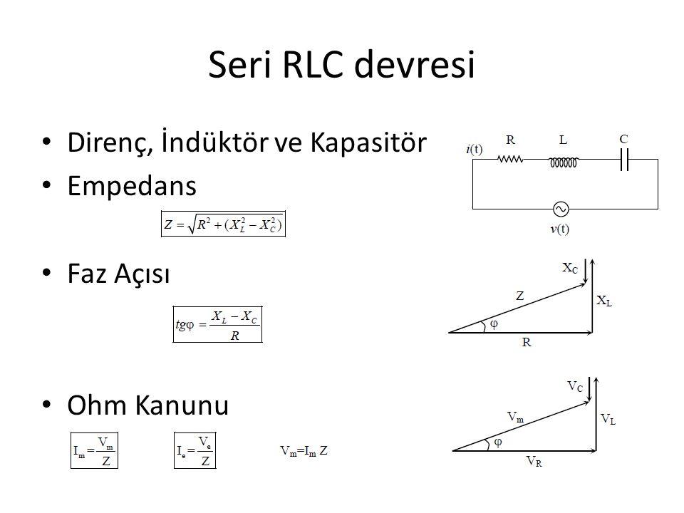 Seri RLC devresi Direnç, İndüktör ve Kapasitör Empedans Faz Açısı