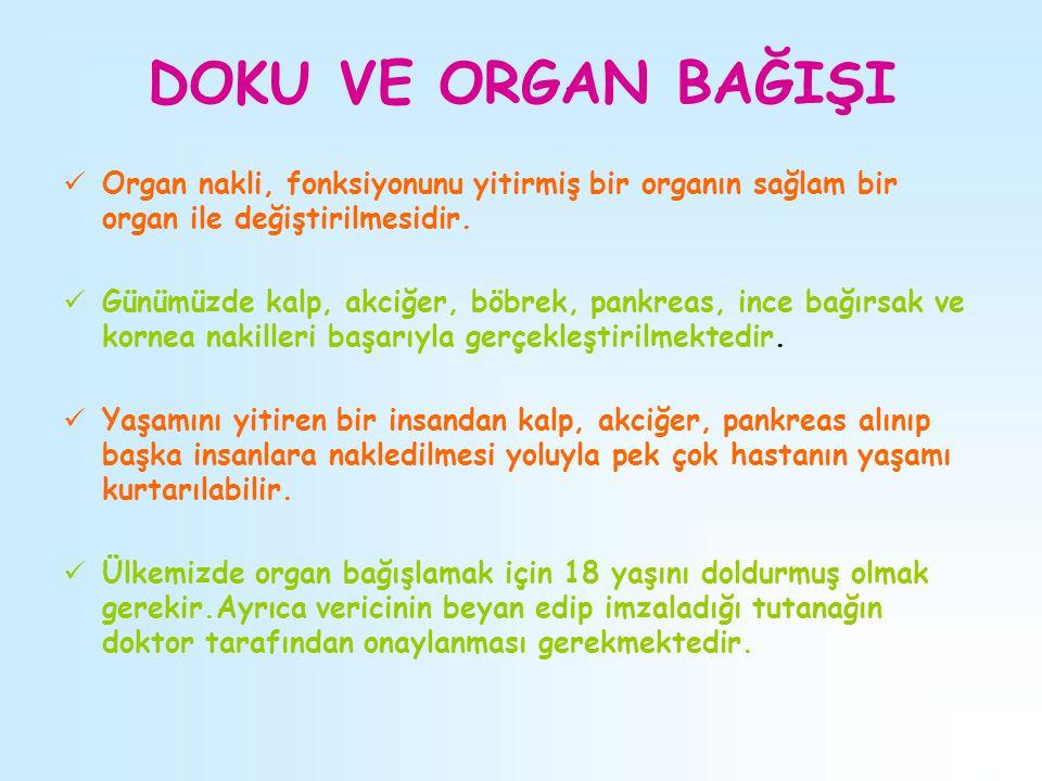 DOKU VE ORGAN BAĞIŞI Organ nakli, fonksiyonunu yitirmiş bir organın sağlam bir organ ile değiştirilmesidir.